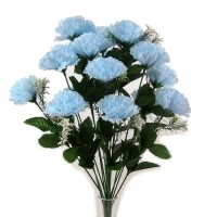 18 Head Baby Blue Carnation Bush