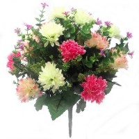 41cm Spiky Large Mixed Bush Pink Cream