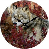 Round Autumn Wolf Glass Clock