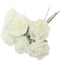 12 Colourfast Foam Roses - Ivory