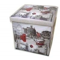 London Attractions Collapsible Small Padded Ottoman Storage Box 36cm