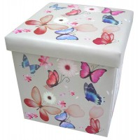 Butterflies Collapsible Small Padded Ottoman Storage Box 36cm