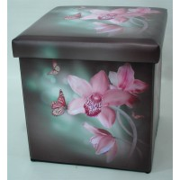 Orchid Collapsible Small Padded Ottoman Storage Box 36cm