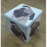 Pug Collapsible Small Padded Ottoman Storage Box 36cm