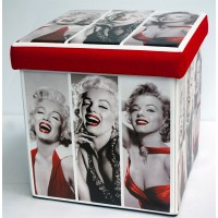 Triple Marilyn Collapsible Small Padded Ottoman Storage Box 36cm