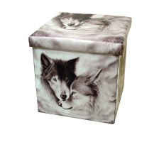 Owls Collapsible Small Padded Ottoman Storage Box 36cm