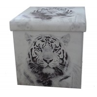 White Tiger Collapsible Small Padded Ottoman Storage Box 36cm