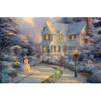 House with Snowman LED Canvas